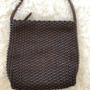 Nine West Brown Woven Leather Crossbody